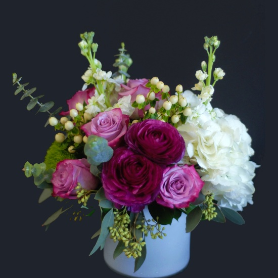 Florist Designed flower arrangement in low and lush style at Scent & Violet