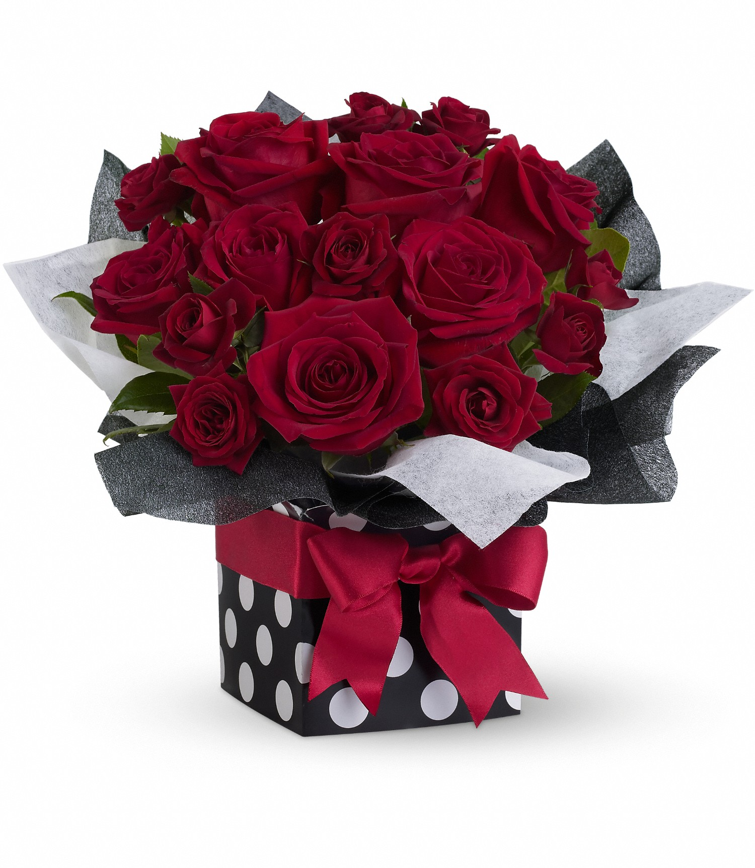 polka dots roses gift box in houston - Garden Oaks Funeral Home