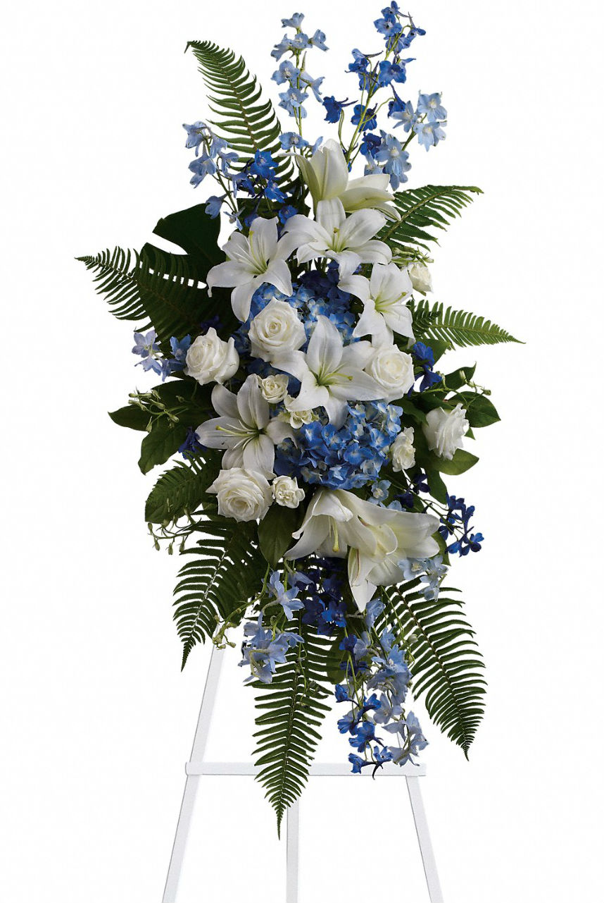 Blue And White Standing Funeral Spray Scent Amp Violet