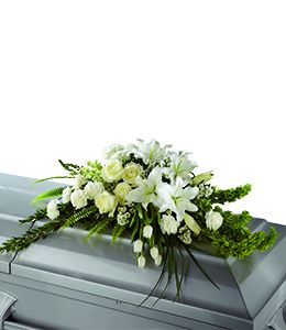 White and Green Casket Spray  in Houston, TX