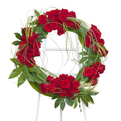 Royal red rose wreath in Houston, TX