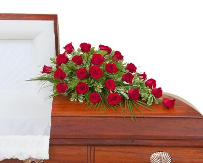 Simply Roses casket spray in Houston, TX
