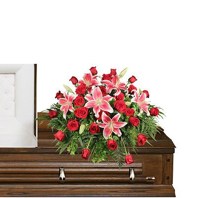 Stargazers and roses casket spray  in Houston, TX