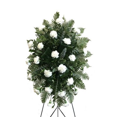 White carnations standing spray in Houston, TX