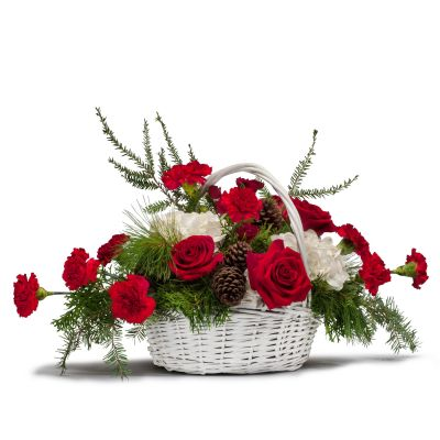 Holiday basket of flowers in Houston, TX