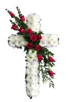 Standing cross with red roses  in Houston, TX