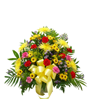 Traditional Sympathy Basket in bright colors in Houston, TX