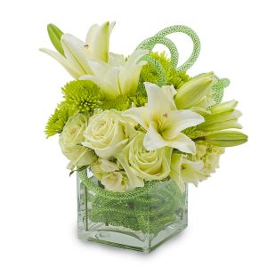 White with a green flair bouquet  in Houston, TX
