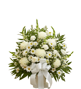 All white traditional sympathy basket  in Houston, TX