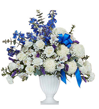Blue and White pedestal urn  in Houston, TX
