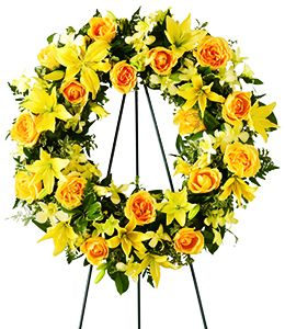 Yellow sympathy wreath  in Houston, TX