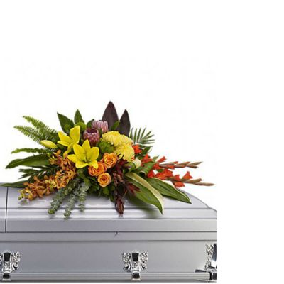 Island memories funeral casket flowers  in Houston, TX