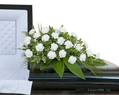 Simple Carnation Casket Spray in Houston, TX