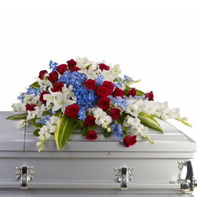 Red, white and blue, casket spray in Houston, TX