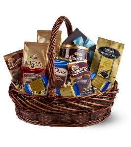 Administrative professionals day scent violet flowers and chocolates and coffee gift basket in houston tx solutioingenieria Image collections