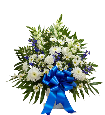 Traditional sympathy basket in blue and white   in Houston, TX